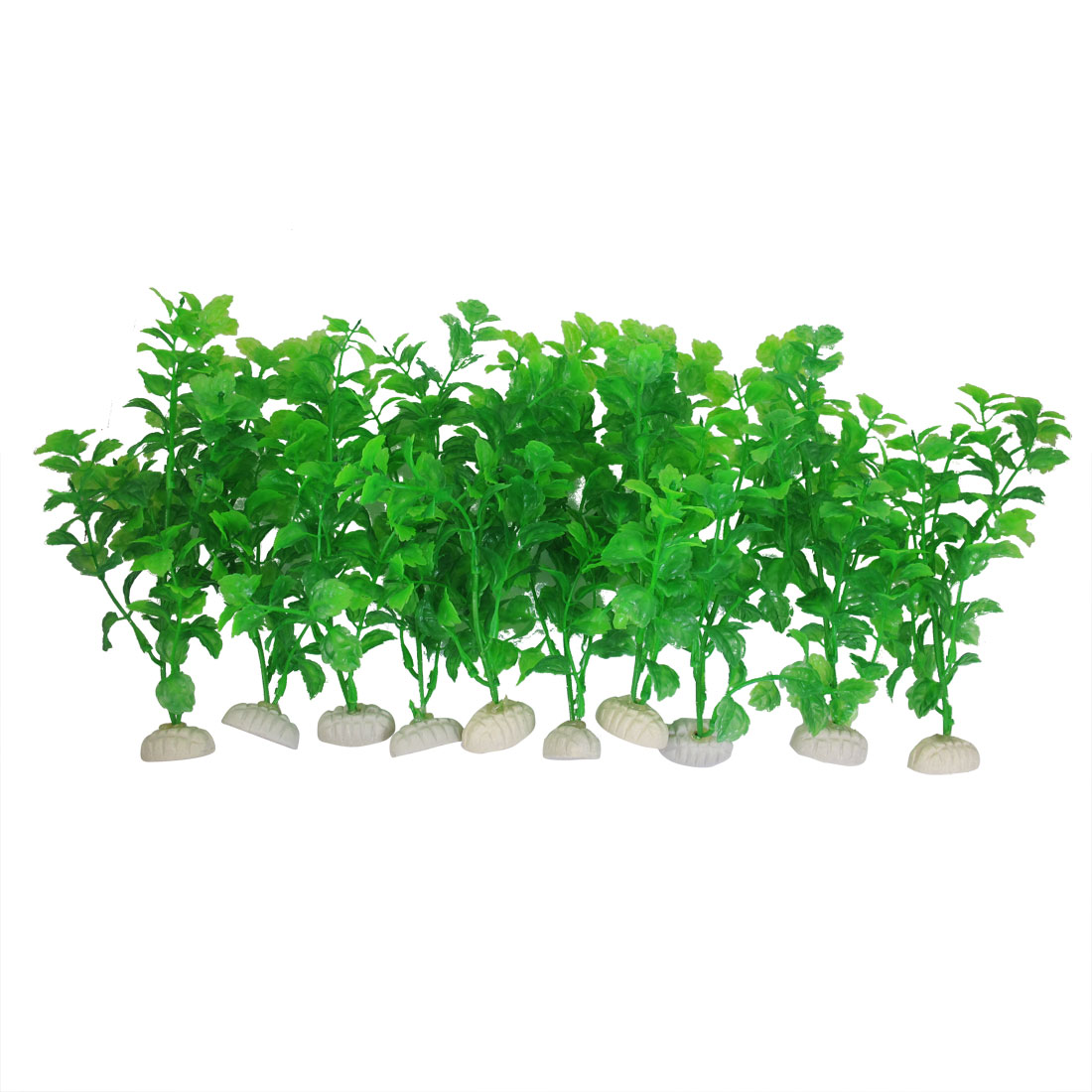 Ceramic Base Green Plastic Fish Tank Aquarium Ornament Aquatic Plant 10Pcs