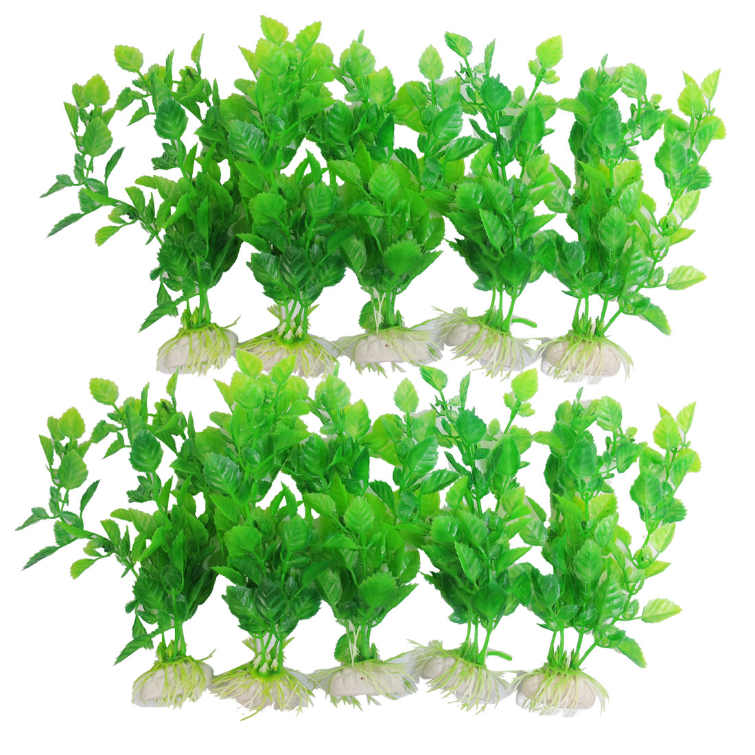 "10 Pcs 6.7"" Ceramic Base Green Plastic Artificial Fish Tank Ornament Aquatic Plant"