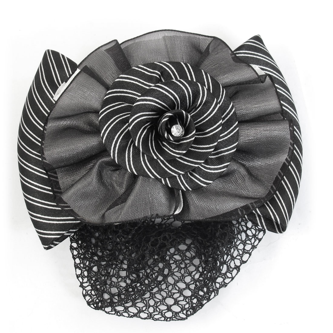 Ladies Black White Striped Design Flower Decor Headdress Hairnet Hairclip