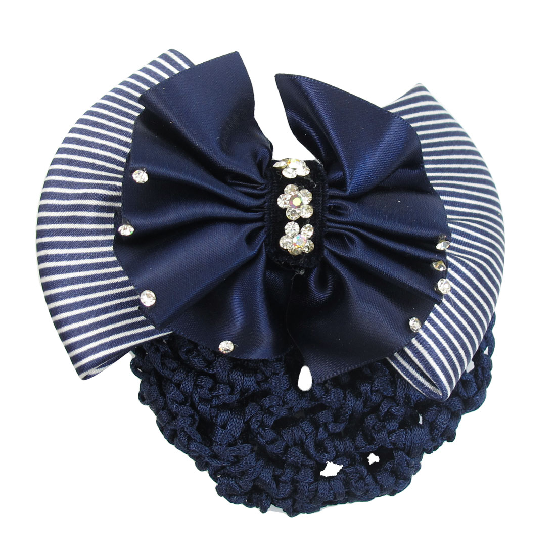 Dark Blue Rhinestone Accent Double Layers Bowtie Hairnet Hairclip for Lady