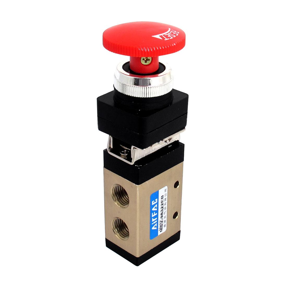 "1/4""PT 2 Position 3 Way Latch Mushroom Button Pneumatic Mechanical Valve"