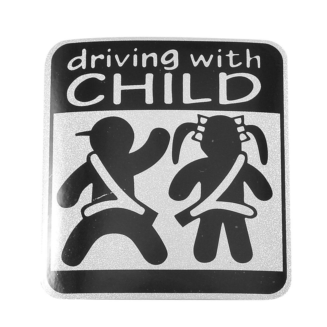Car Auto Square Black Silver Tone Driving with Child Sticker
