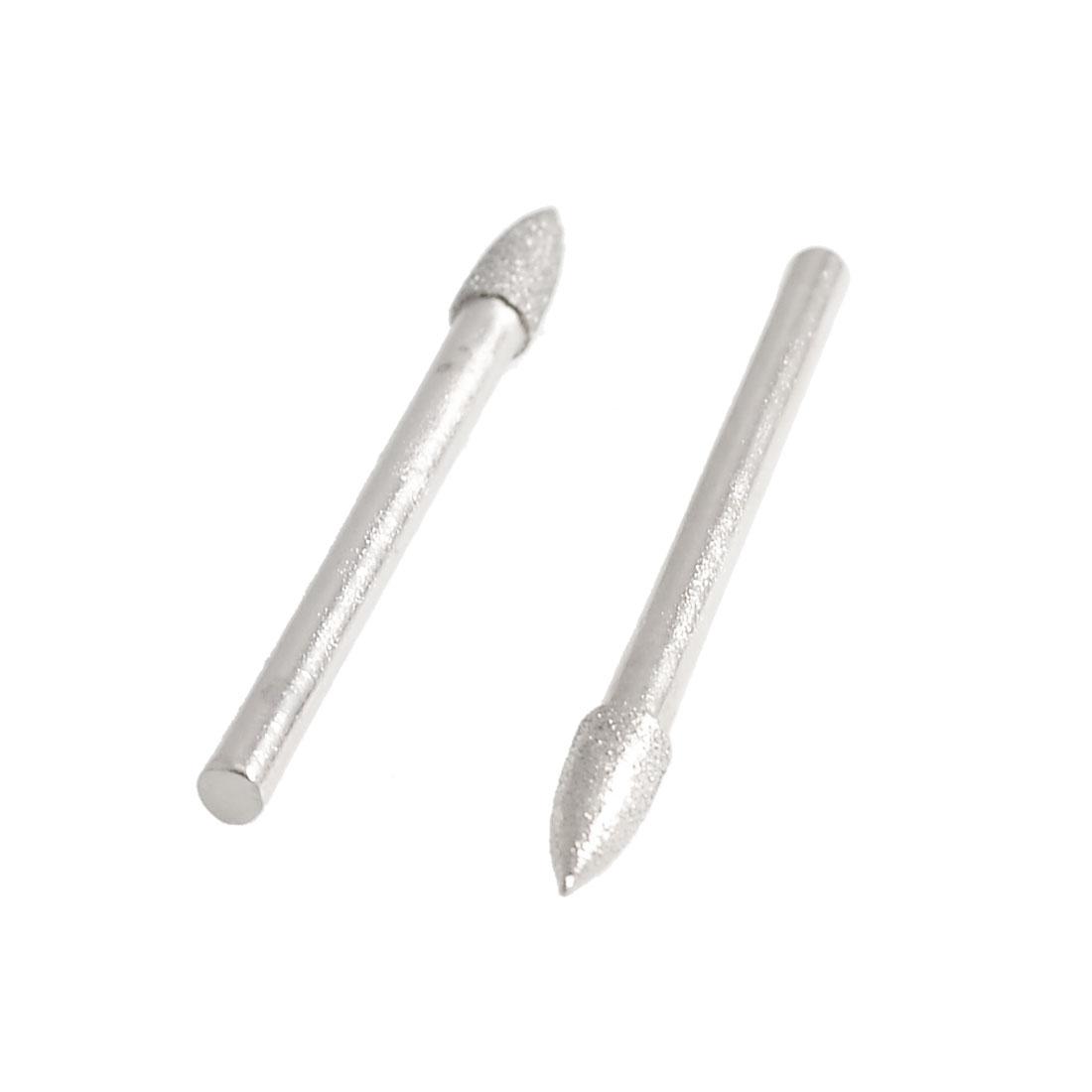 3mm x 4mm Cone Head Diamond File Mounted Point Buffing Bits 2 Pcs