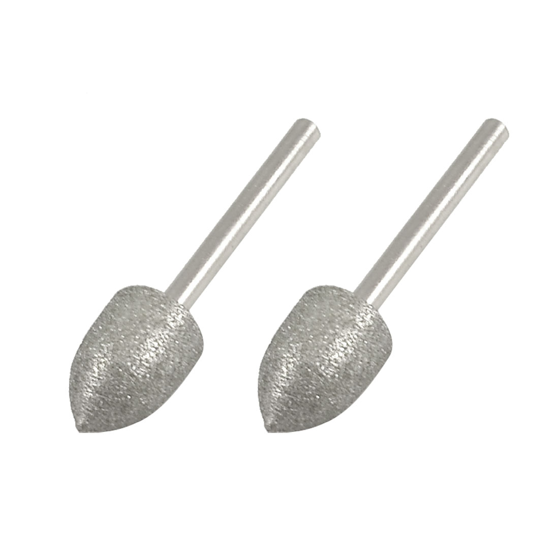 2 Pcs 10mm Tapered Nose 3mm Shank Diamond Mounted Point Grinding Bits