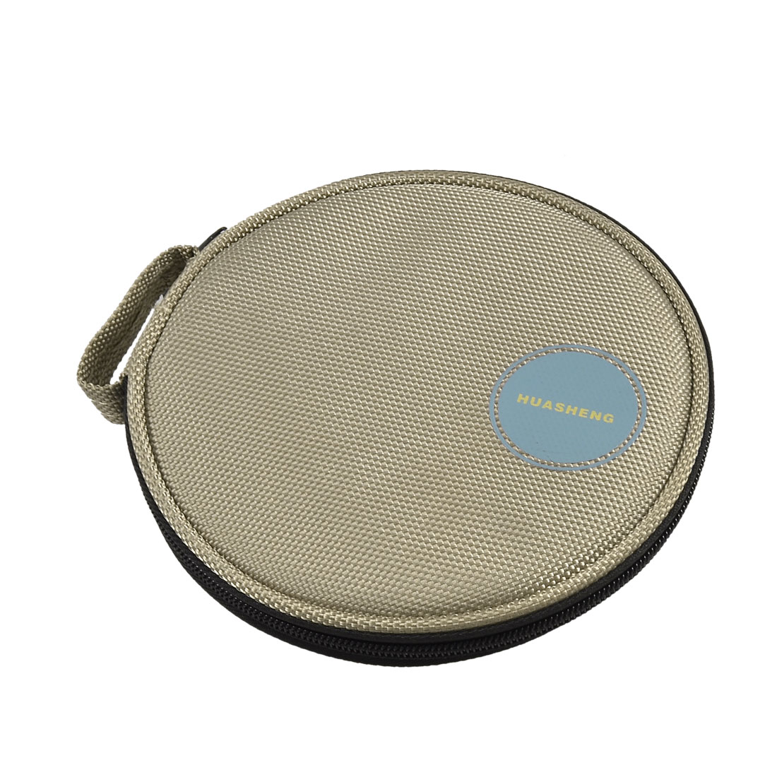 Home Car 10 Sheets CD DVD Box Zipper Closure Khaki Round Case