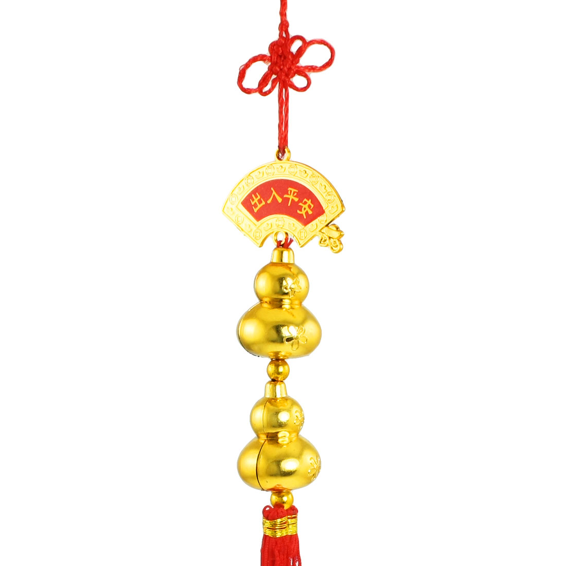 Auto Car Gold Tone Double Gourd Red Tassels Chinese Knot Ornament