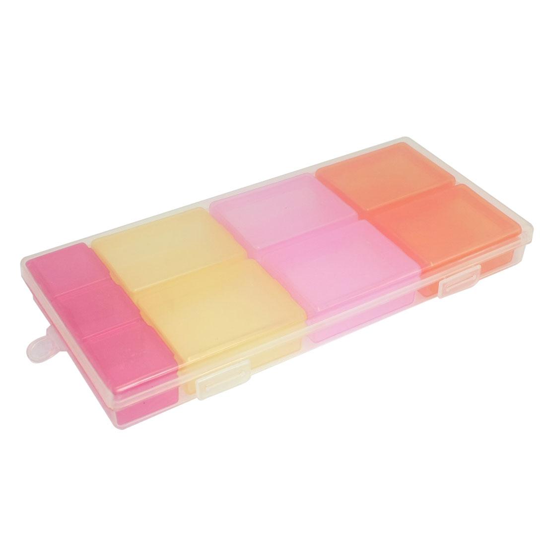 Multicolor 10 Compartments Medicine Pill Holder Storage Box Case