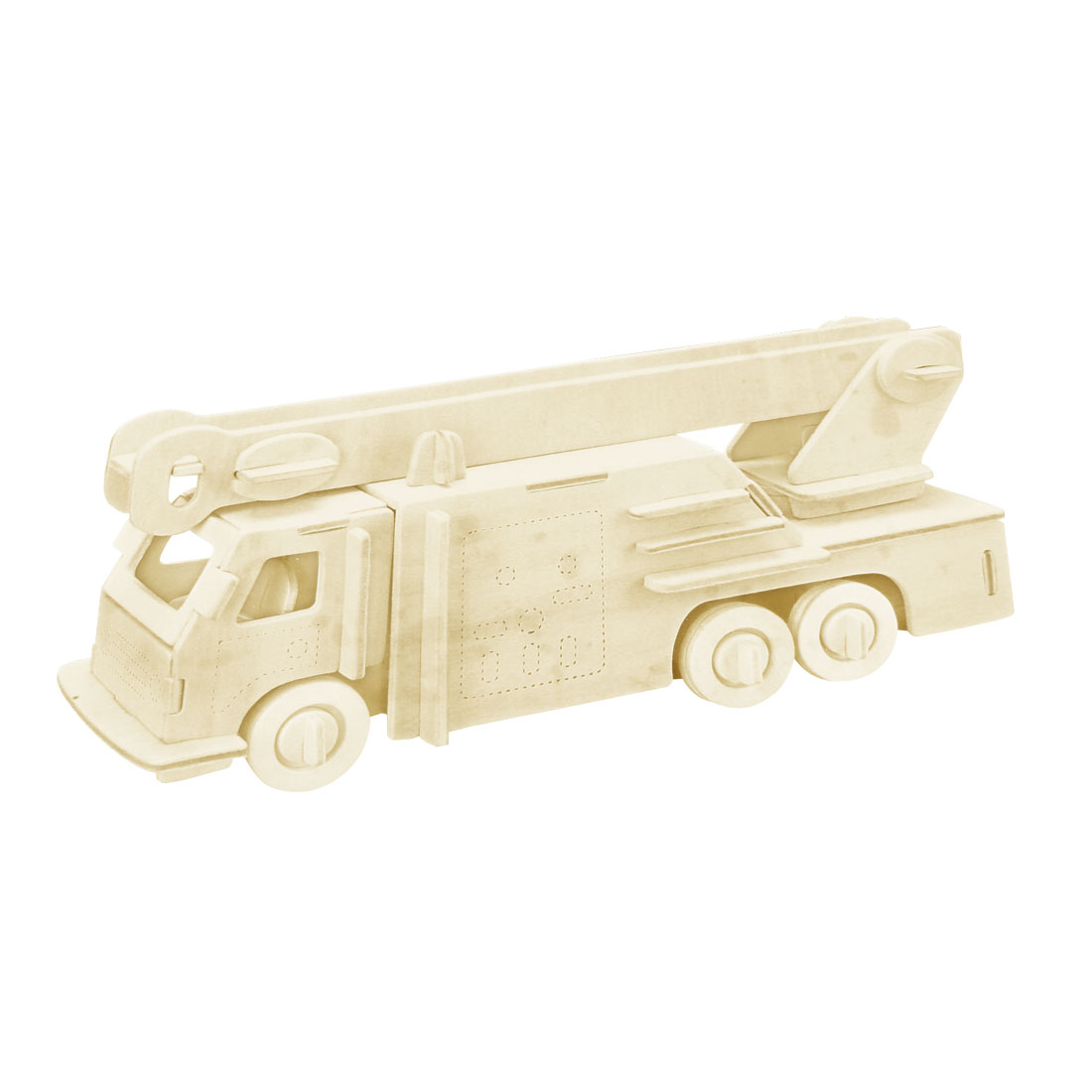 Beige 3D Wooden Fire Engine Model Woodcraft Construction Kit Puzzle Toy