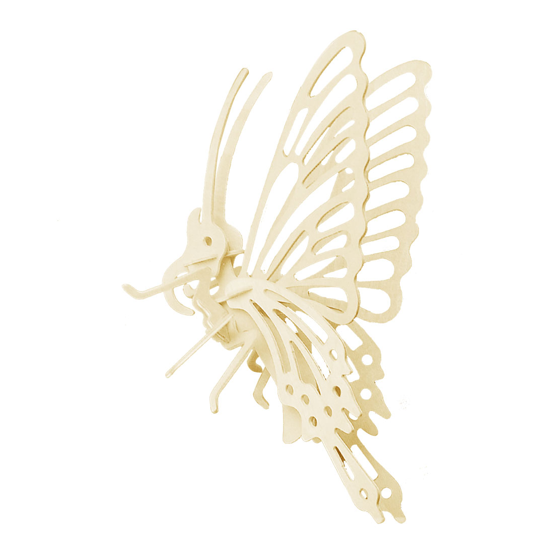 Beige Wooden 3D Flying Little Butterfly Model Assemble DIY Puzzle Toy