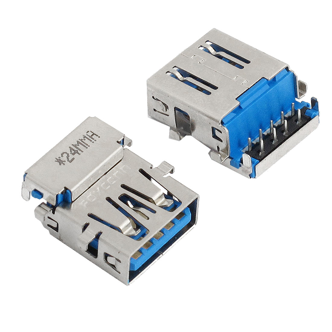 2 Pcs USB 3.0 Jack Connectors Type A Female 90 Degree 9 Pin DIP