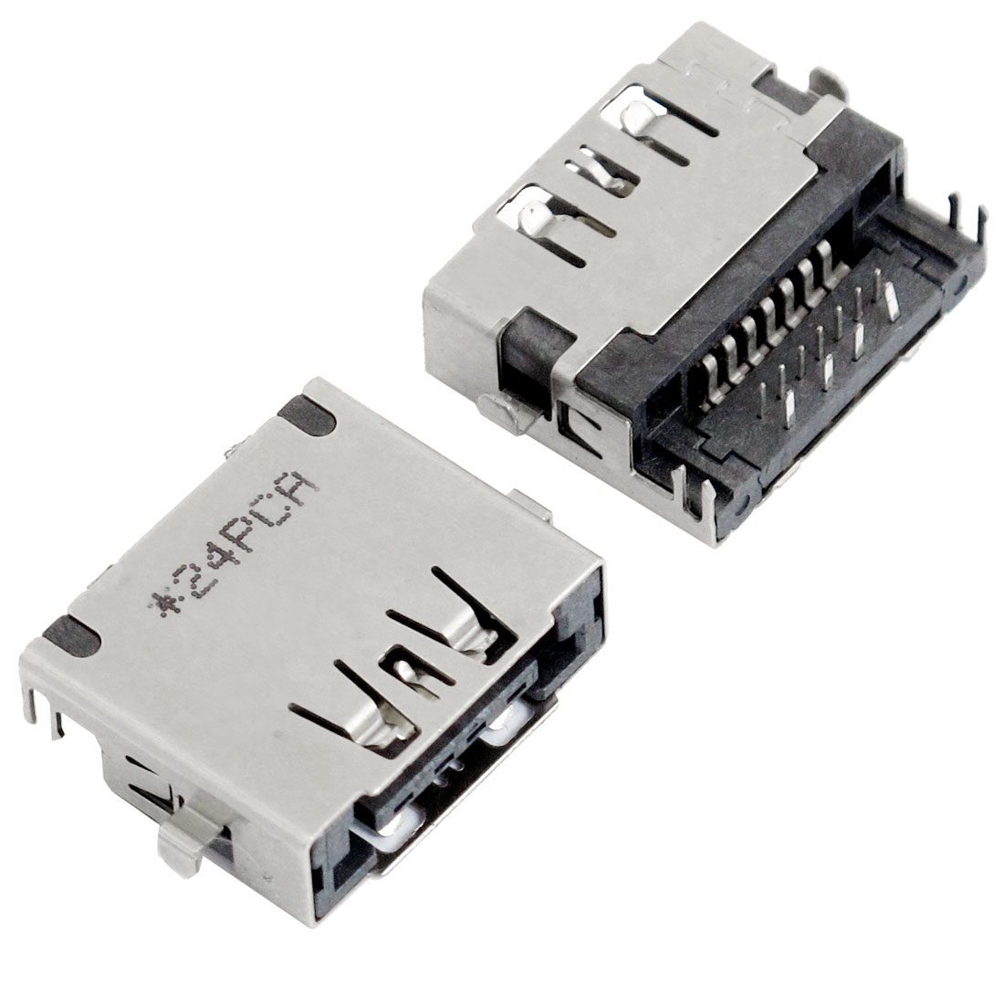 2 Pcs Right Angle Female ESATA + USB PCB Jack Connectors