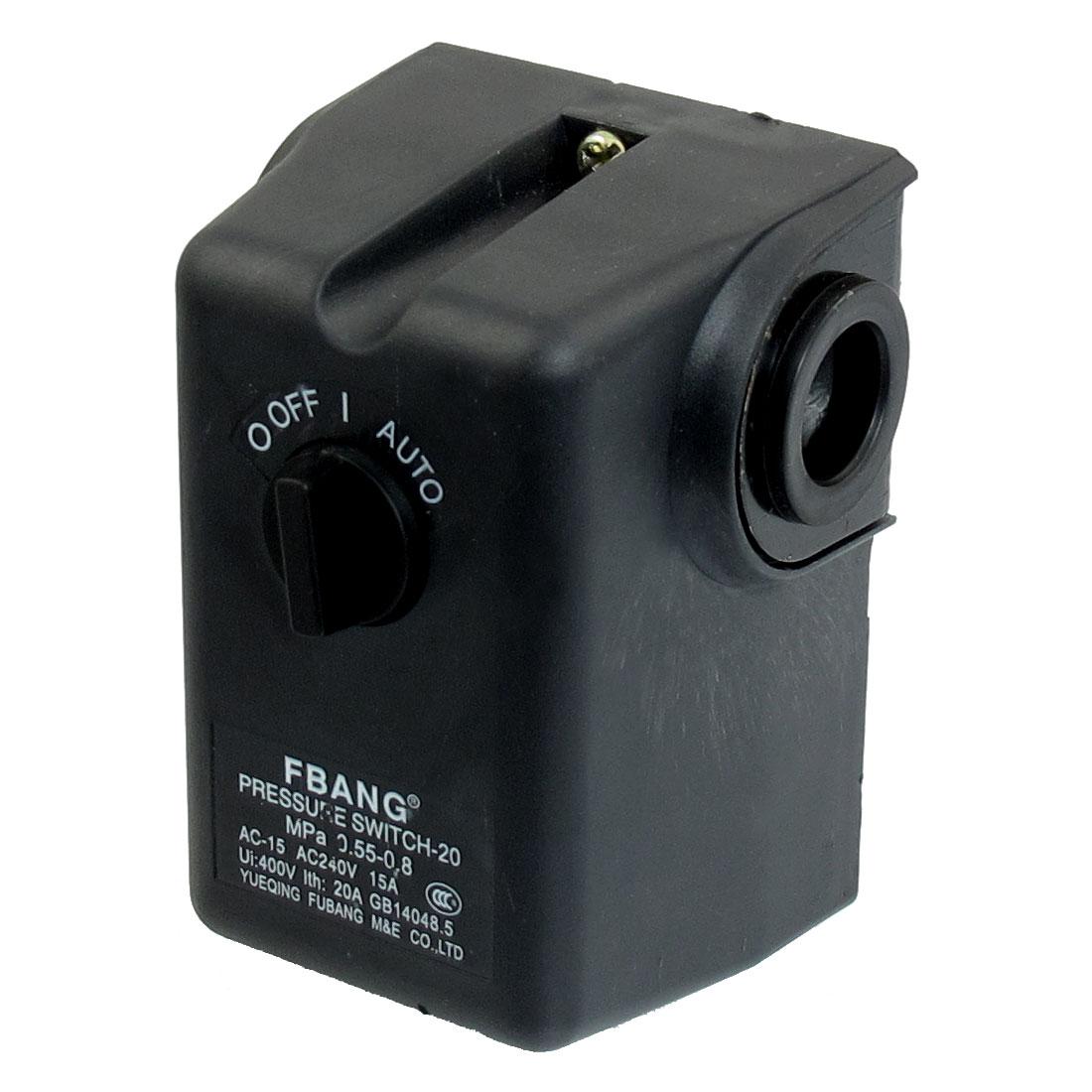 AC 240V 15A 80-115PSI 1 Port 2-Position Air Compressor Pressure Switch Control Valve