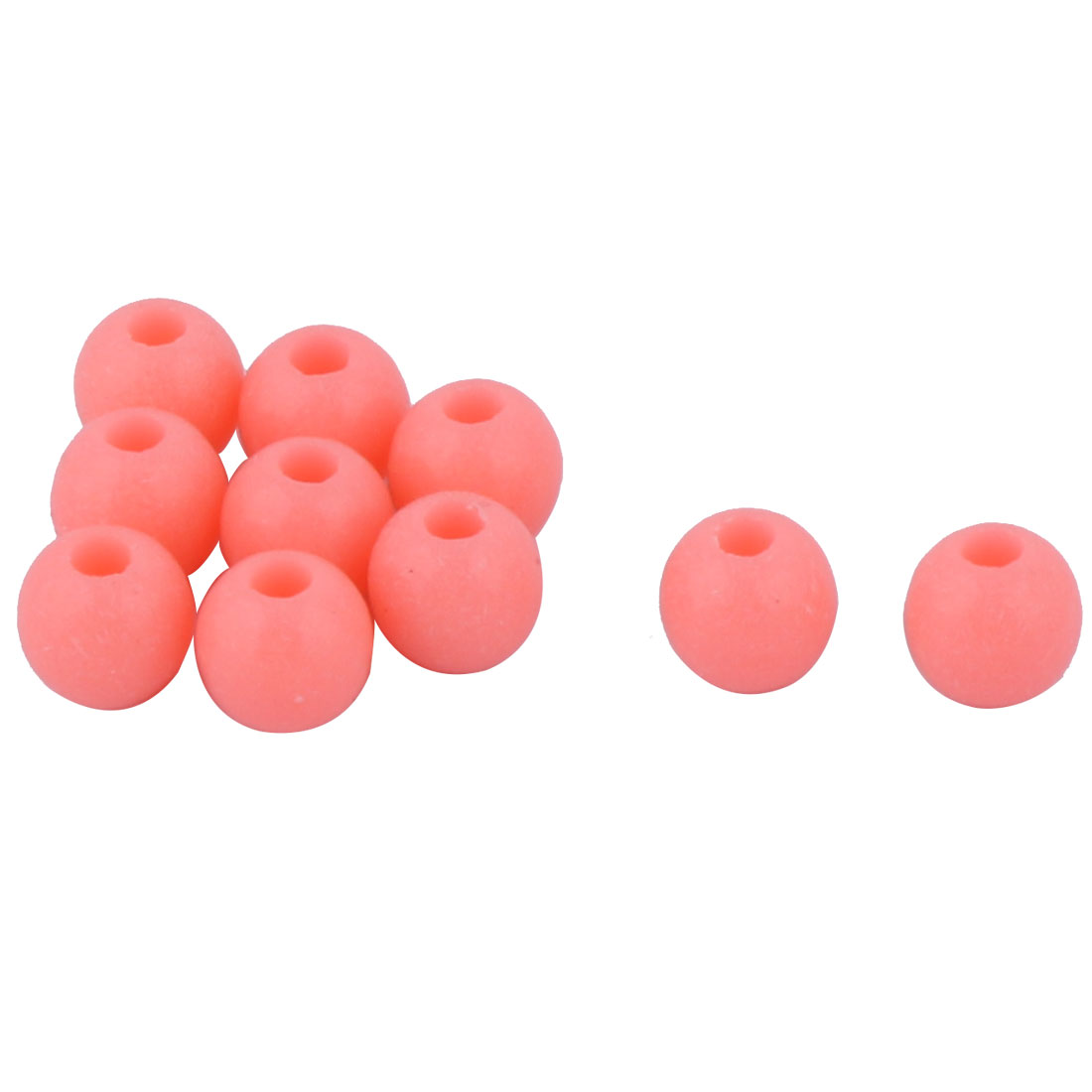 10 Pcs Salmon Hard Plastic Luminous Round Shaped Beads Fishing Lures