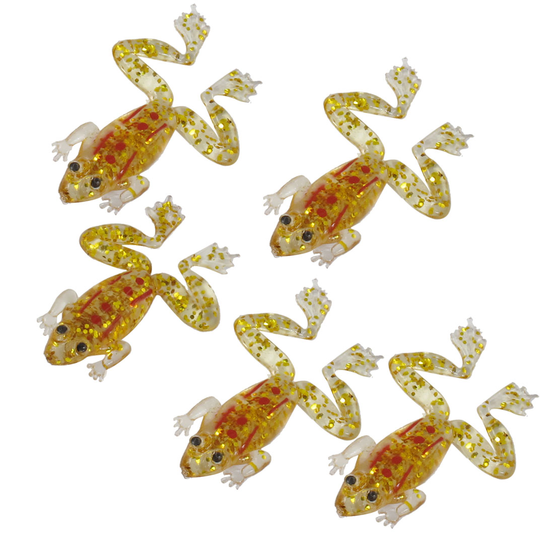 5 Pcs Gold Tone Glitter Sequins Accent Frog Shaped Fishing Baits