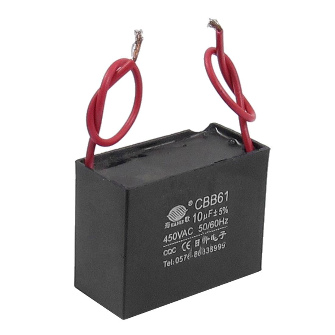 CBB61 10uF AC 450V Rectangle Non Polar Motor Run Capacitor