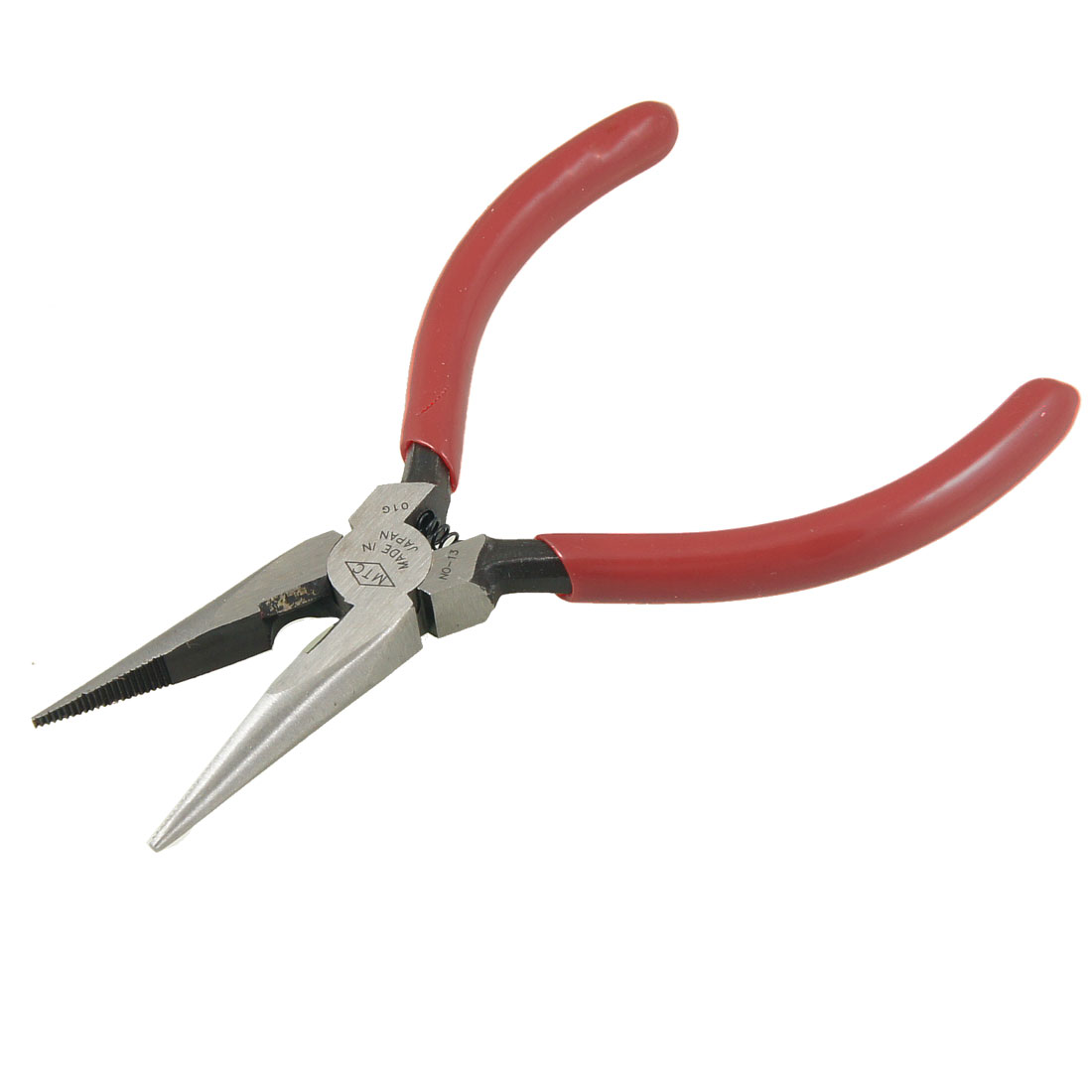 "Red Plastic Coated Grips 5"" Long Straight Cutting Repairing Needle Nose Pliers"