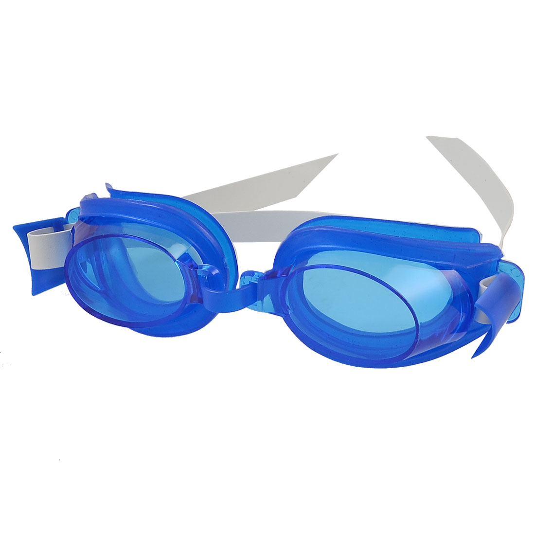 Child White Elastic Strap Swimming Blue White Goggles Glasses w Nose Clip