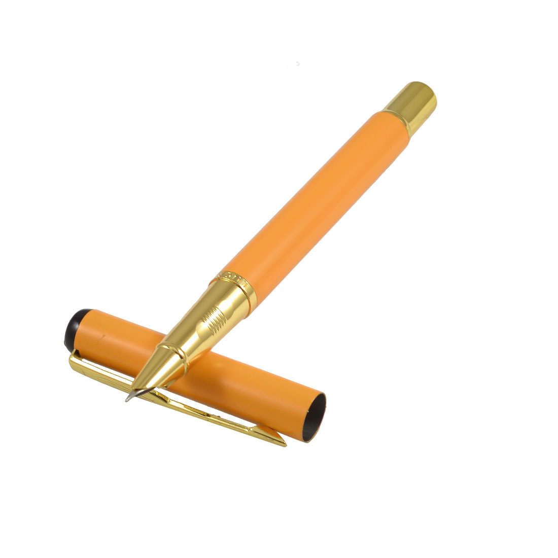 Student Orange Shell 0.2cm Dia Hooded Nib Writing Fountain Pen