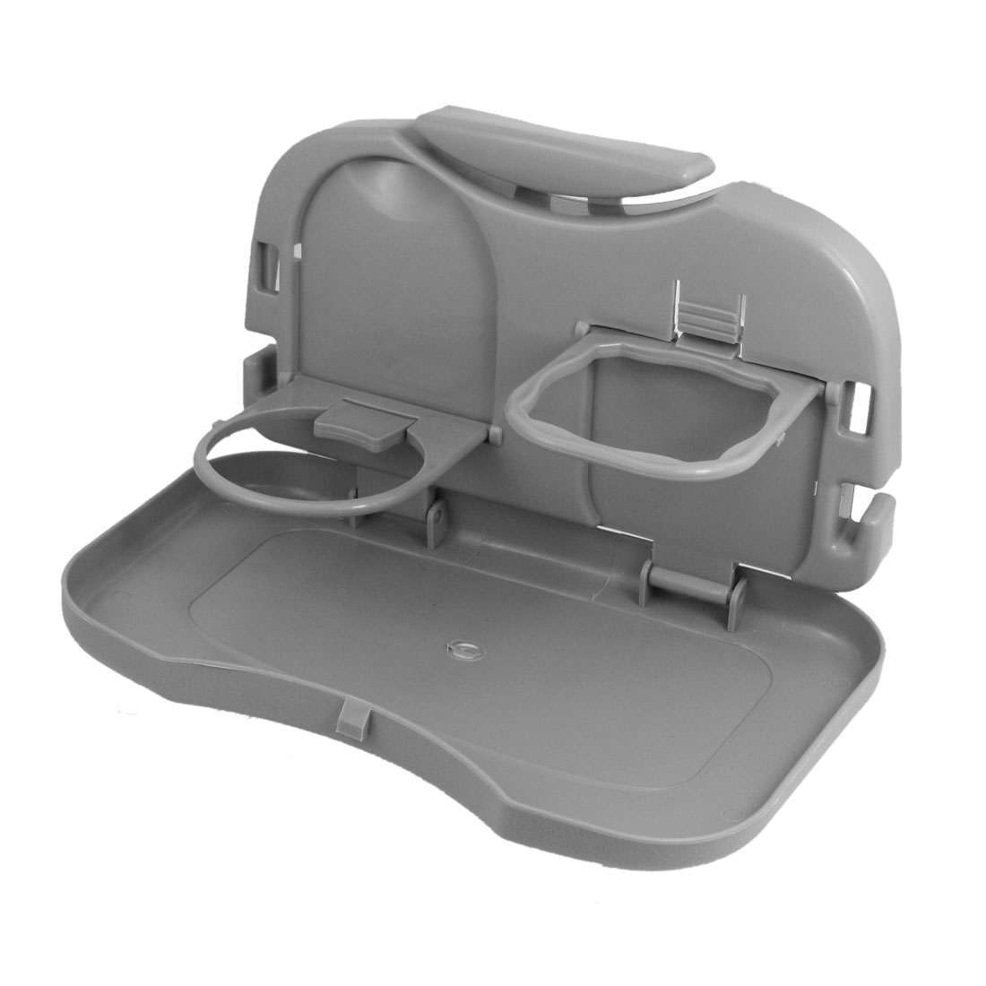 Universal Gray Car Auto Tray Food Table Desk Stand Drink Cup Holder Plate