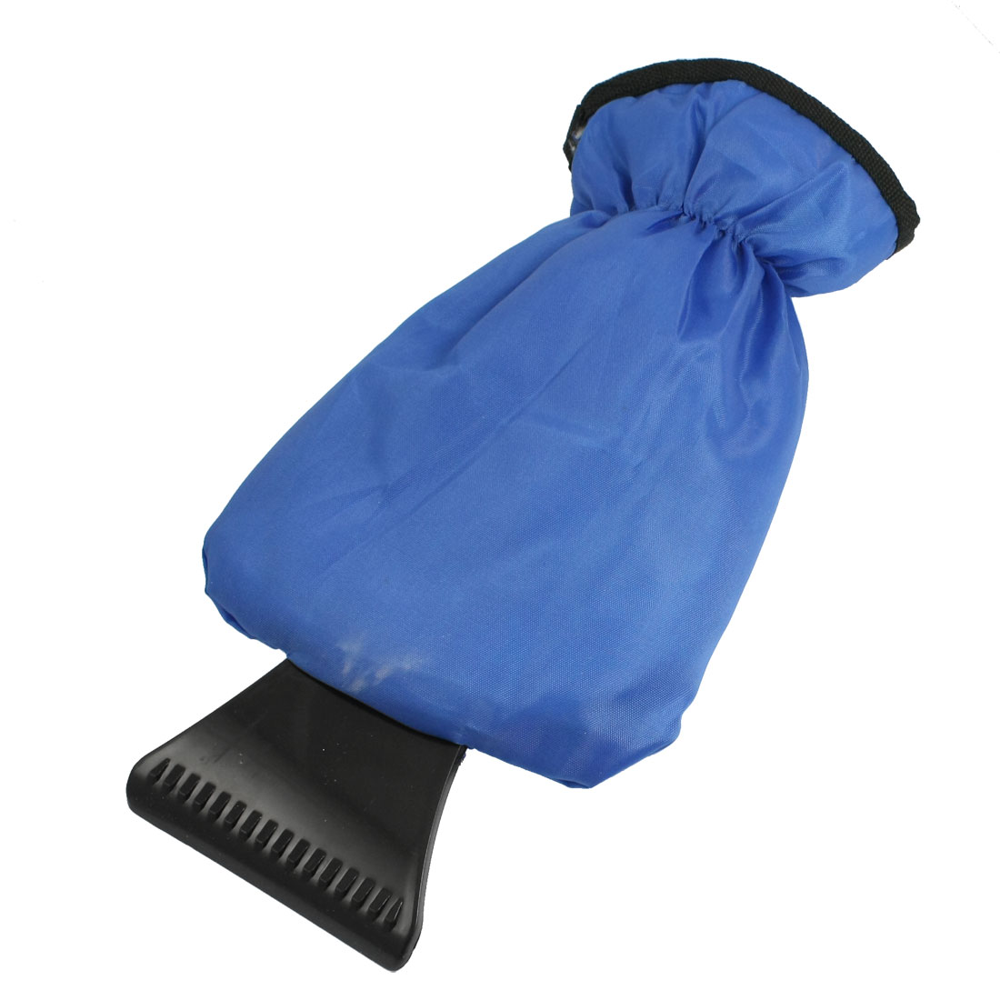 Plastic Ice Snow Scraper Hand Protectr Plush Lining Fabric Glove Blue