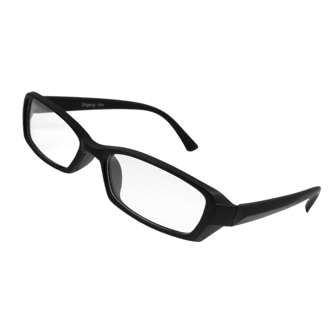 Lady Men Full Frame Plastic Black Arms Plain Glasses Spectacles