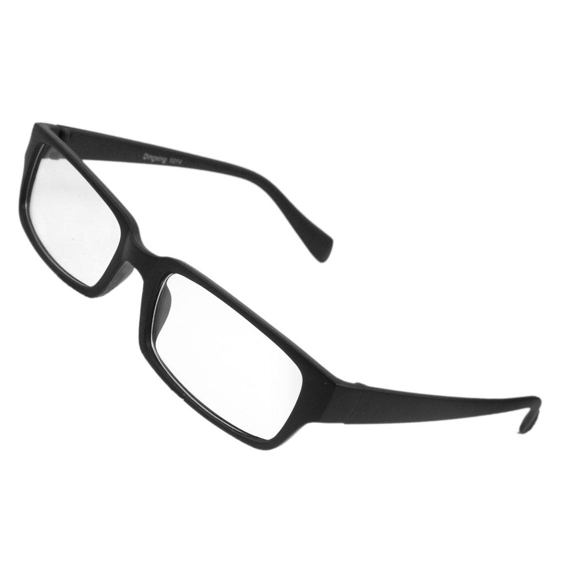 Lady Man Plastic Frame Rectangle Shaped Clear Lens Plain Plano Glasses Black