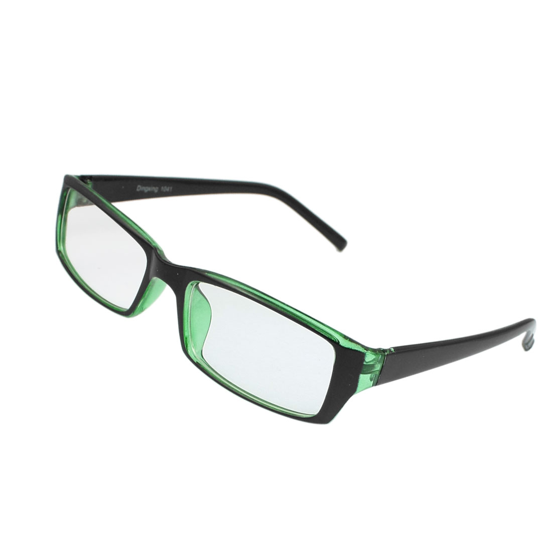 Women Men Plastic Arms Rectangle Shape Lens Plain Plano Glasses Black Green