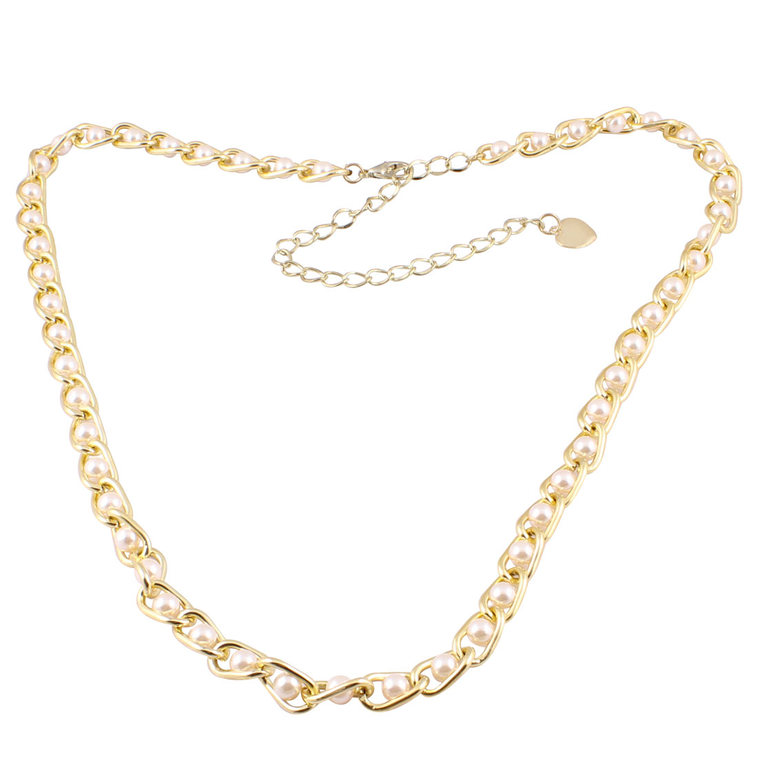 Lady Gold Tone Metallic Heart Dangle Curbchain Ivory Faux Pearl Decor Waist Chain New