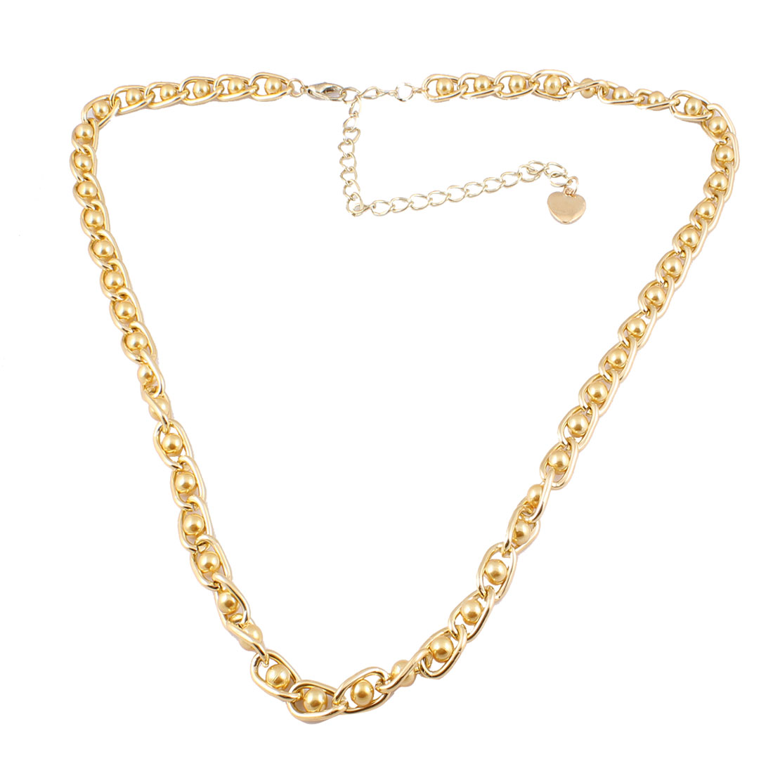 Metallic Gold Tone Imitation Pearl Detail Heart Pendent Curbchain Waist Chain for Lady