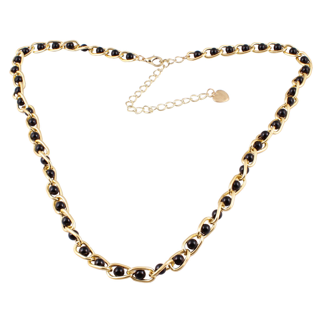 Ladies Gold Tone Metallic Dangling Heart Black Imitation Pearl Decor Curbchain Waist Belly Chain