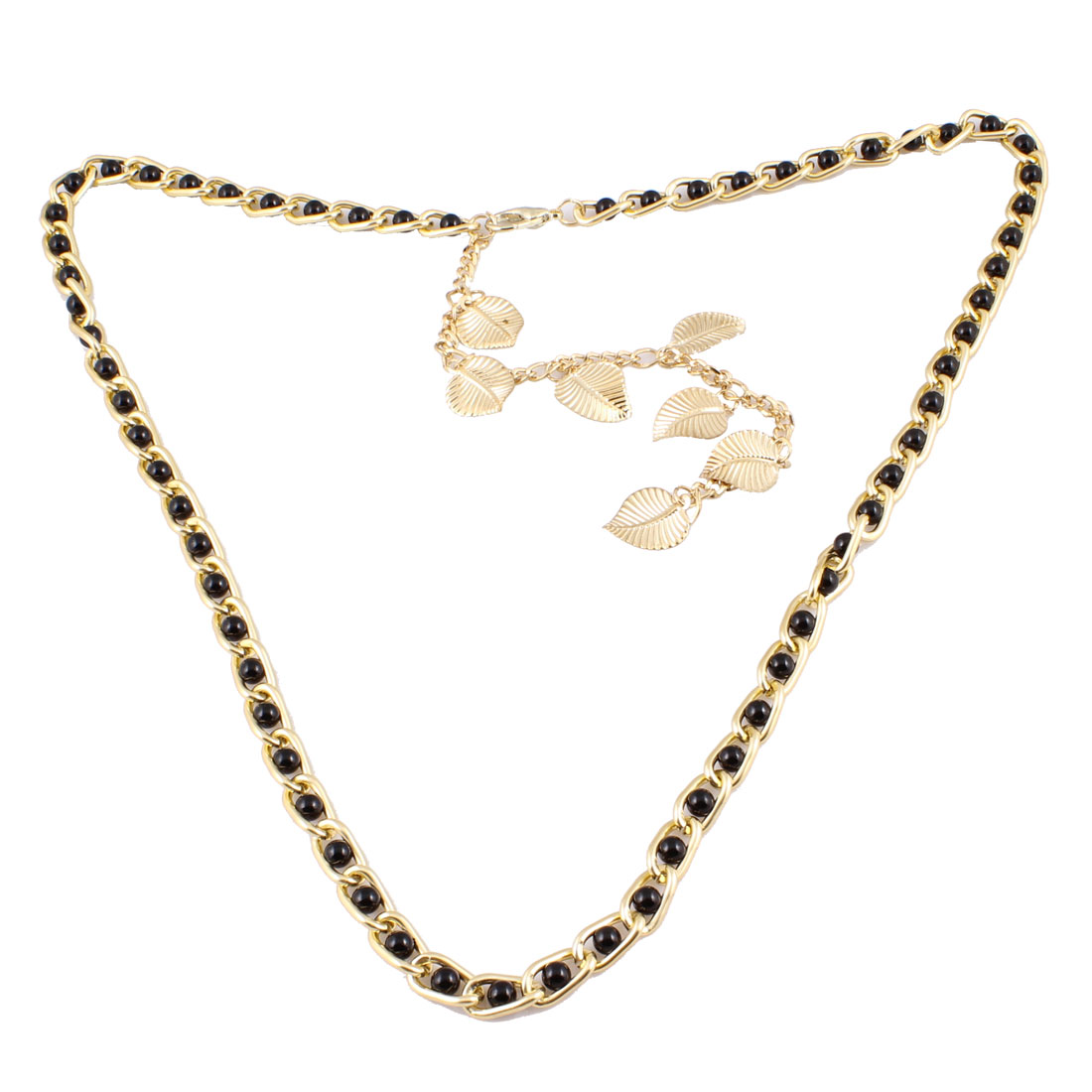 "Woman 41"" Length Metallic Leaves Pendent 0.2"" Dia Faux Pearl Waist Curb Chain Gold Tone Black"