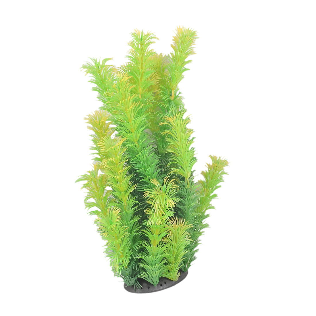 "Fish Tank Decoration 9.8"" Height Plastic Green Yellow Leaf Aquatic Plant"