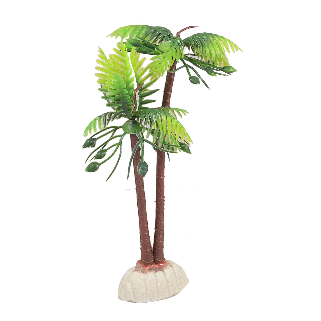 "Fish Tank Decoration 7"" Height Plastic Coconut Palm Style Aquatic Plant"