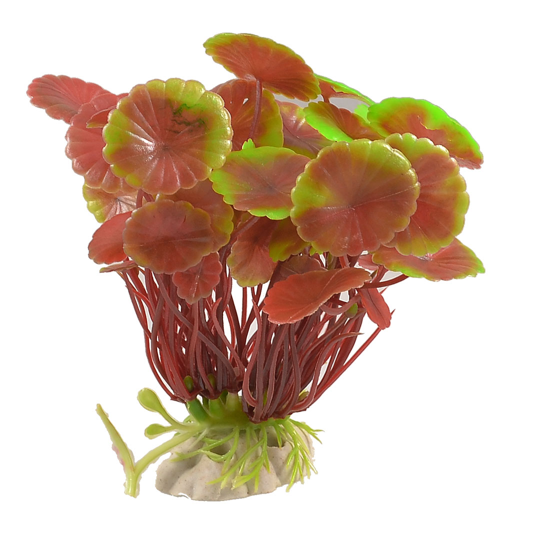 "Fish Tank Decoration 4.5"" Height Red Green Leaf Plastic Aquatic Plant"