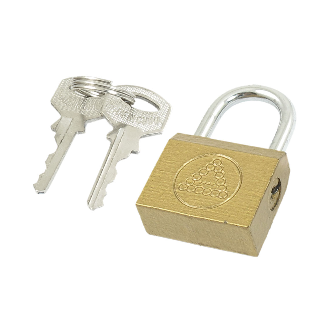 Gold Tone Cabinet Jewlery Box Packsack Safety Brass Padlock w 2 Pcs Keys