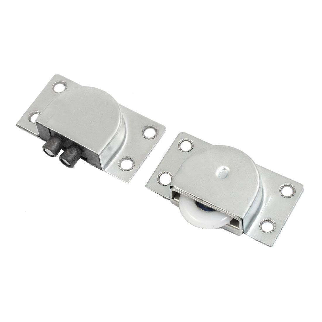2 Pcs Silver Tone Metal Plate Home Wardrobe Sliding Door Roller Set