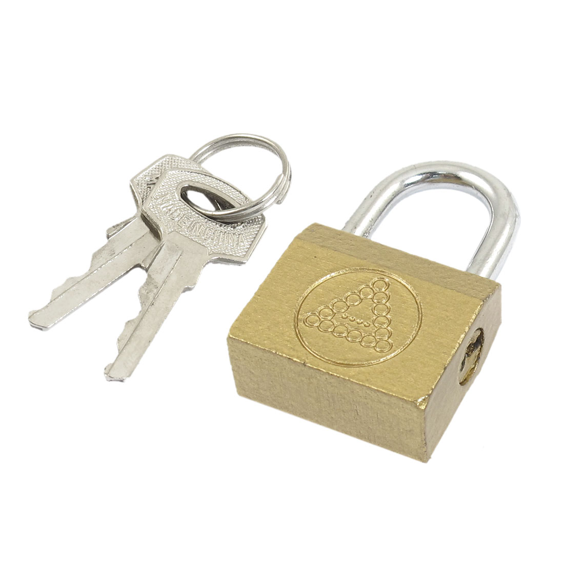 Gold Tone Cabinet Furniture Packsack Safety Brass Padlock w 2 Pcs Keys