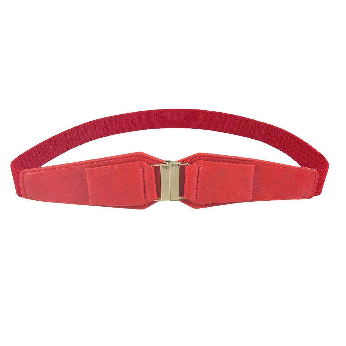 Lady Woman Red Interlocking Buckle Elastic Skinny Dress Waistband Waist Belt