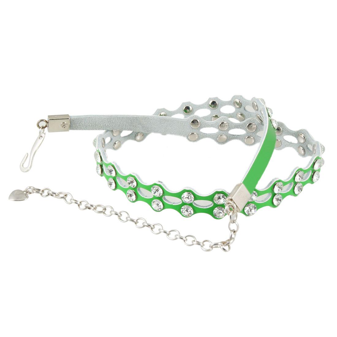 Women Hook Buckle Rhinestones Detailing Skinny Faux Leather Green Waist Chain