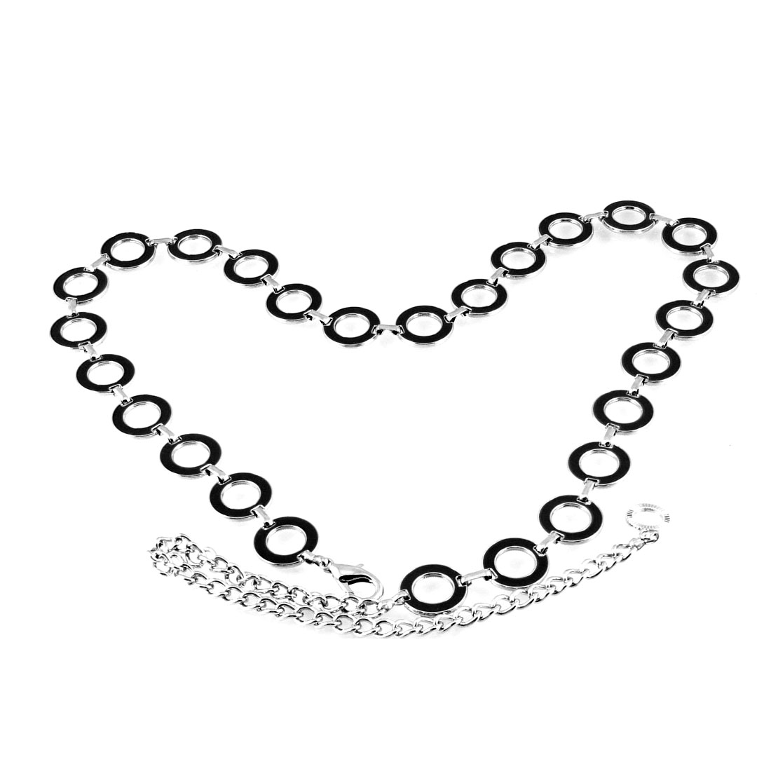 Black Linked Hollow Round Design Silver Tone Waist Chain Belt for Lady