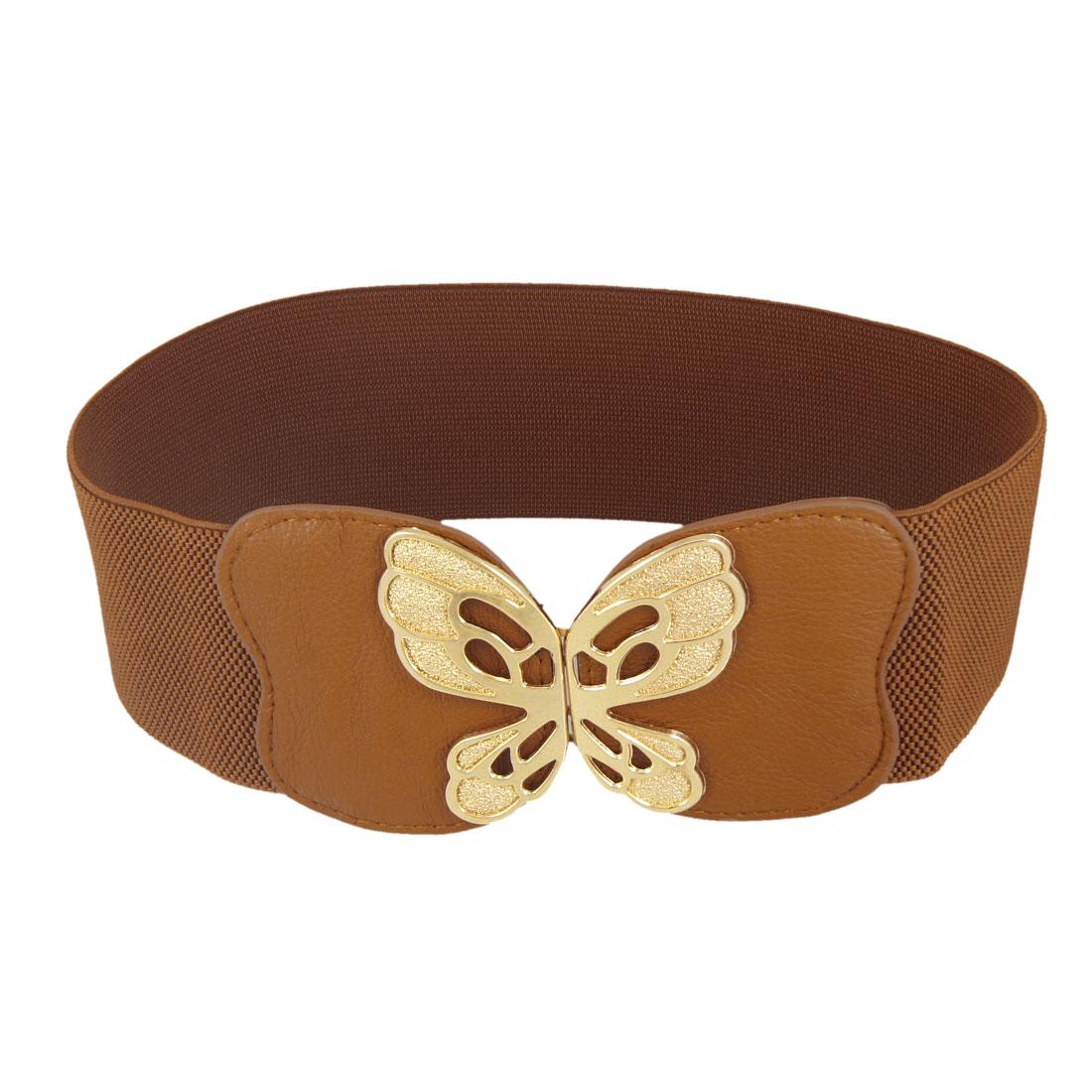 Brown Interlocking Buckle Gold Tone Metal Butterfly Decor Elastic Waistband Belt
