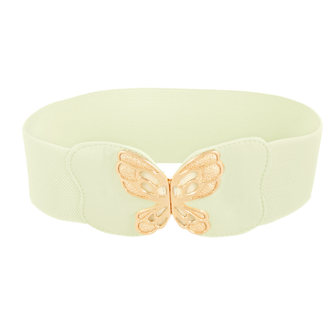 Gold Tone Butterfly Detail Interlocking Buckle Beige Stretch Waist Belt for Ladies