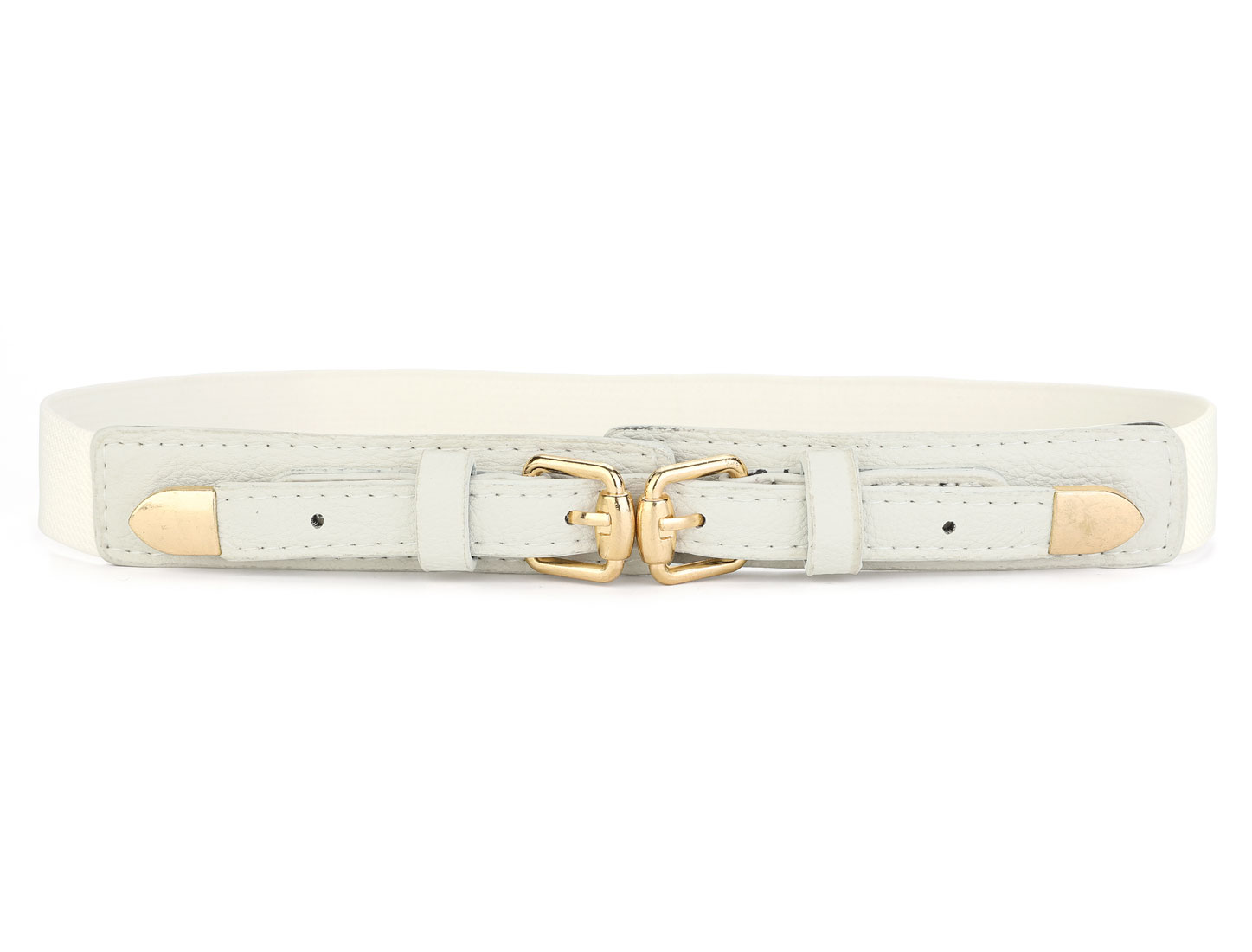 White Gold Tone Double Buckle Skinny Elastic Waistband Waist Belt for Ladies