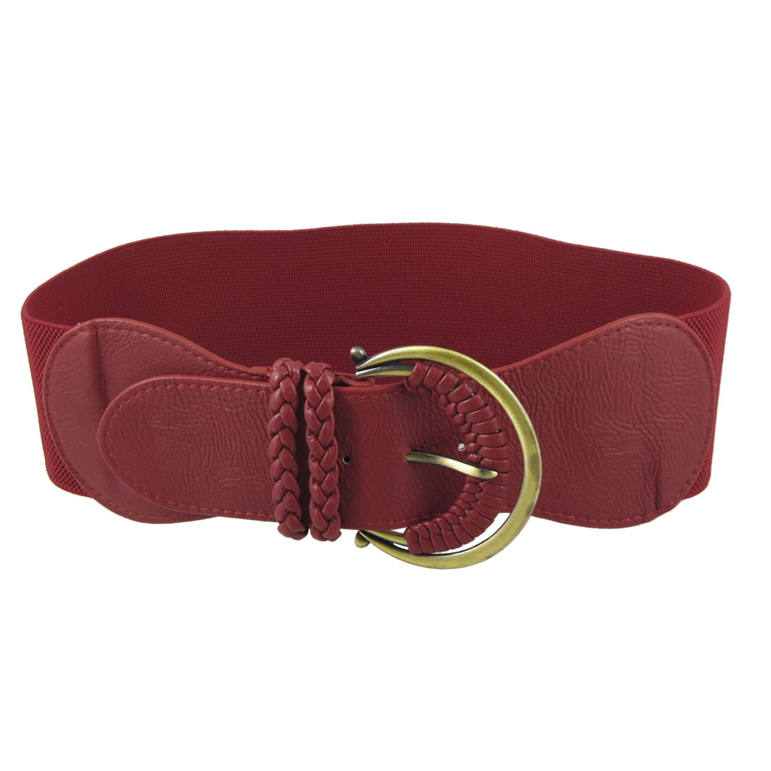 Lady Braid Faux Leather Metal Single Buckle Wide Red Elastic Cinch Waist Belt