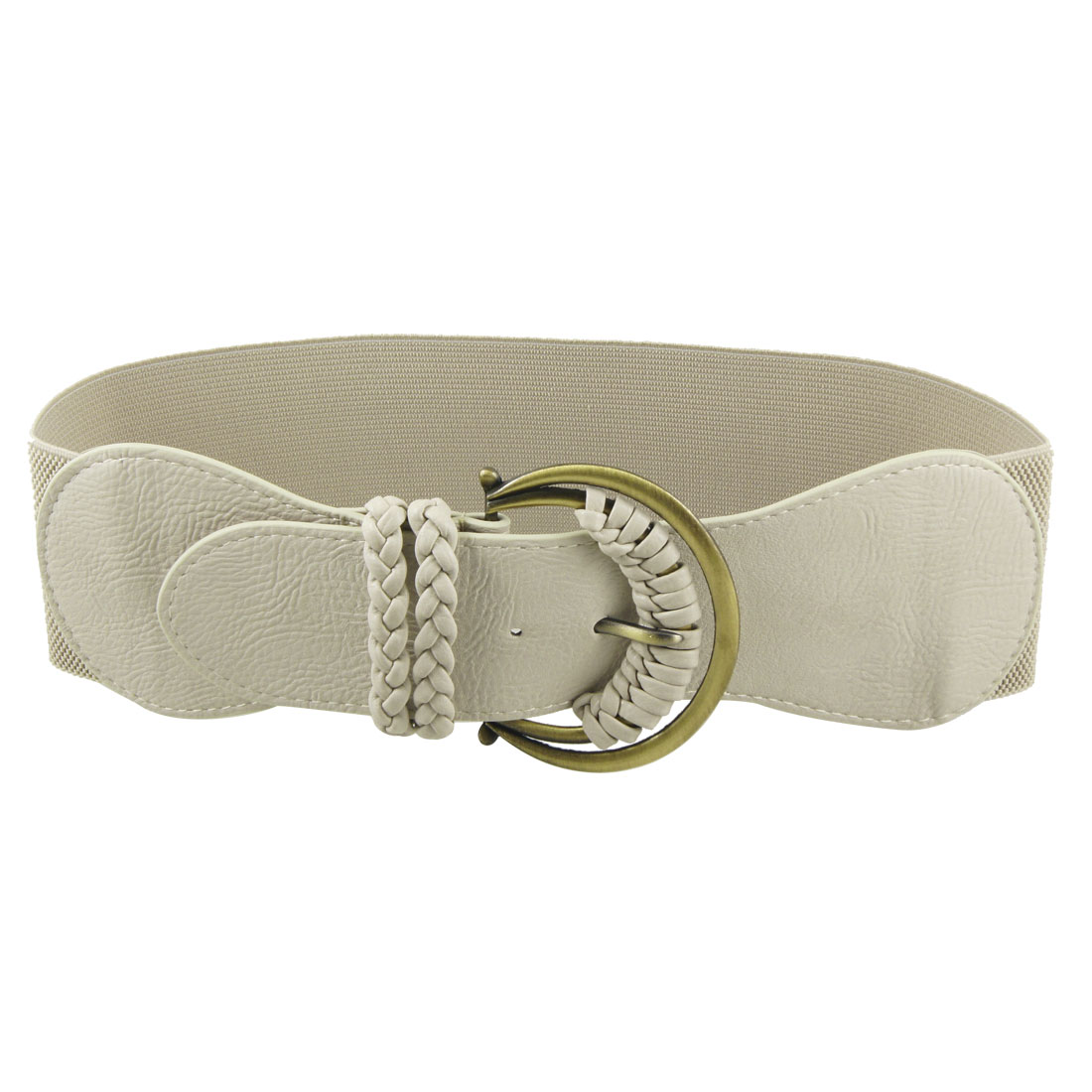 Woman Braid Decor Bronze Tone Pin Buckle Wide Waistband Belt Khaki