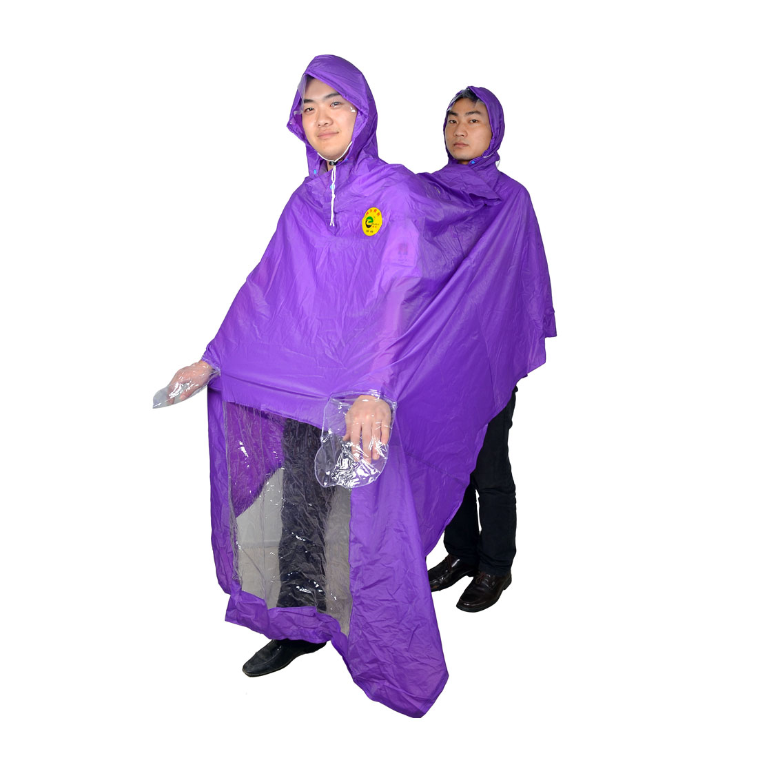 Motorcycle Two Person Style Plastic Raincoat Poncho Purple