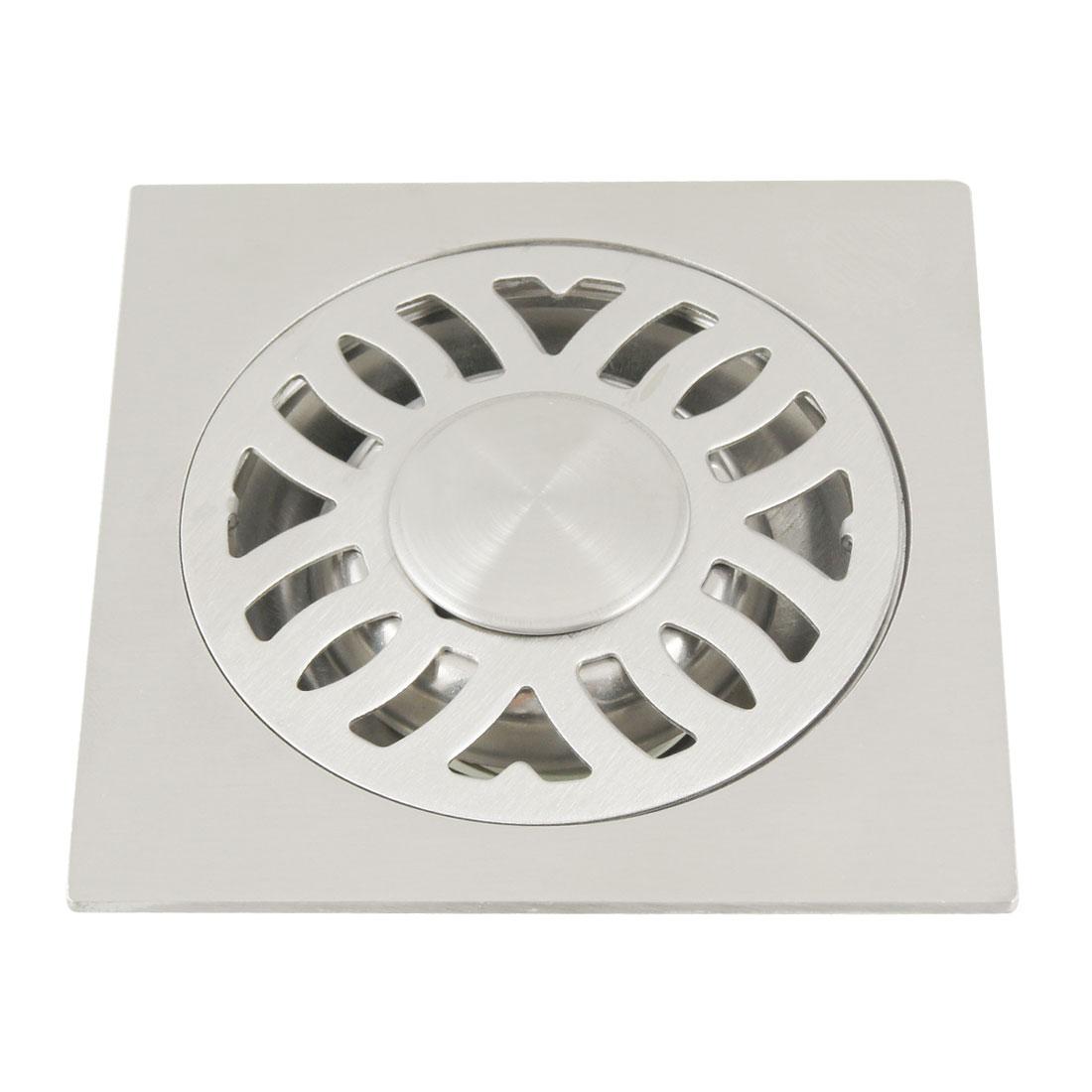 "Bathroom 3.1"" Hole Dia Drain Square Floor Waste Grate Silver Tone"