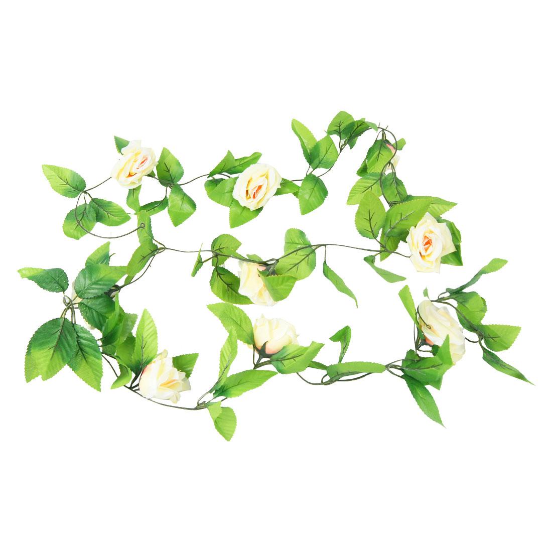 7cm Dia Beige Rose Emulational Fabric Green Leaf Hanging Vine 2.5M