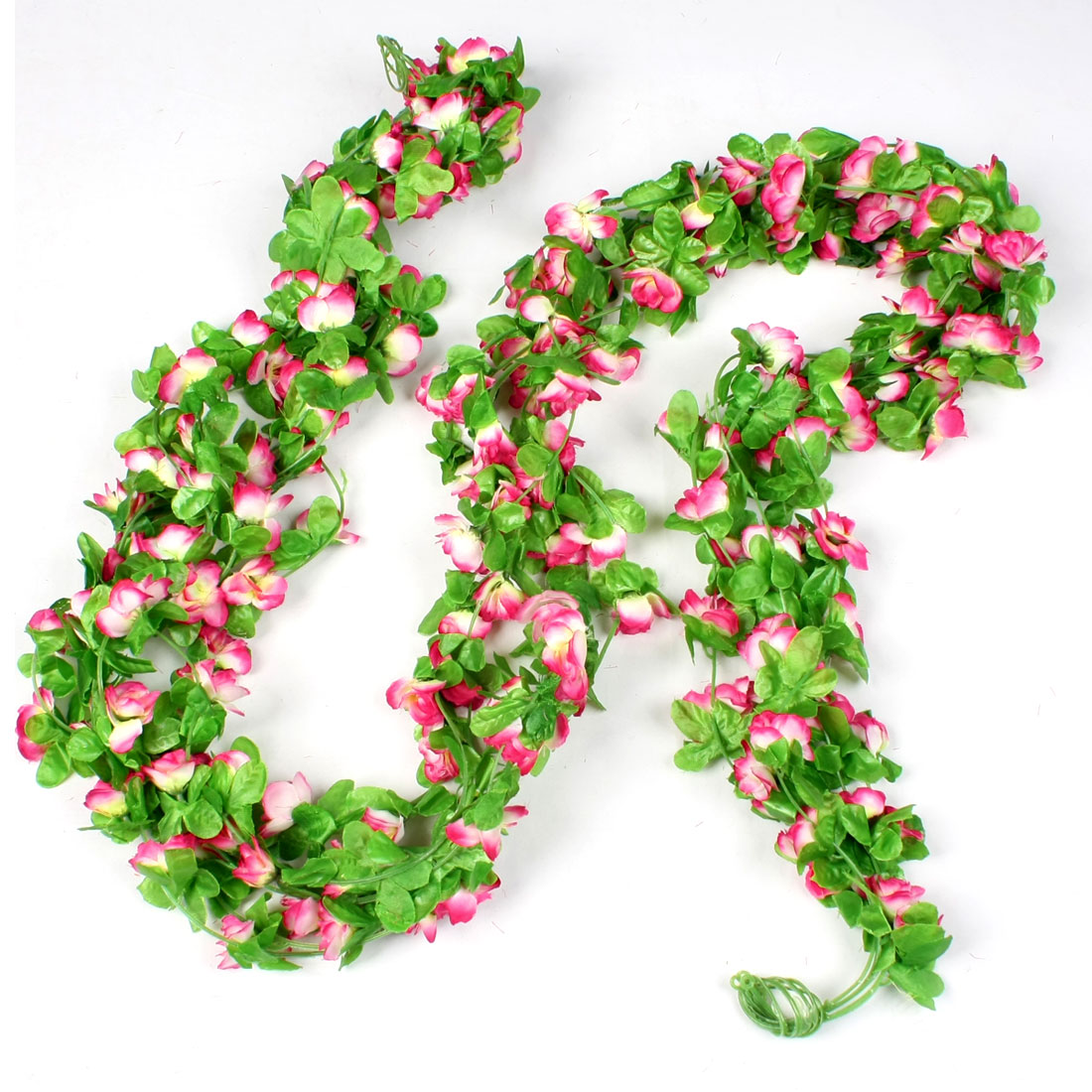 5 Pcs 2.2M Long Simulation Ornament Green Leaf Fabric Flower Ivy Yellow Magenta White