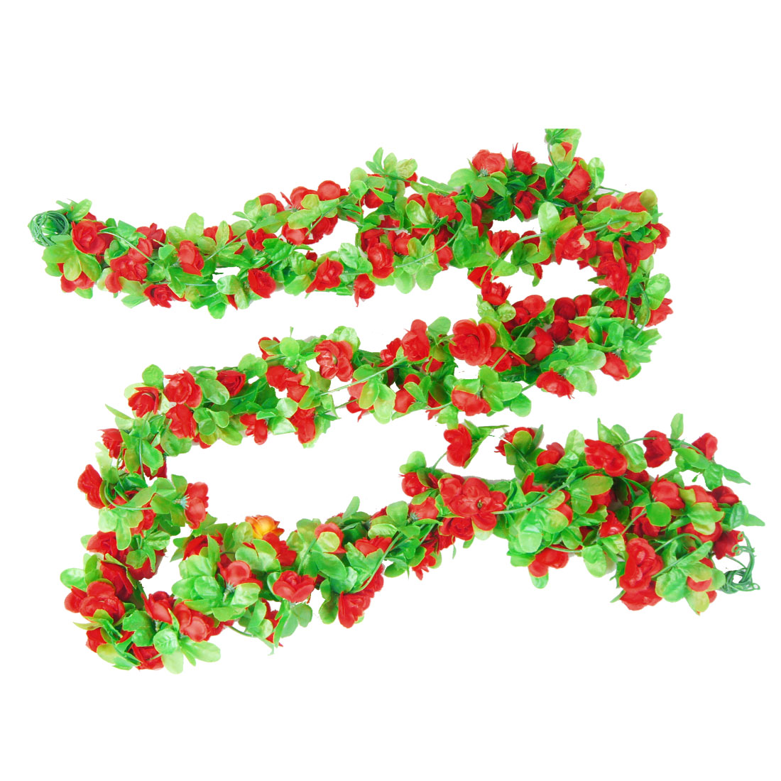 2.2M Long Emulational Ornament Green Leaf Fabric Flower Ivy Red 5 Pcs